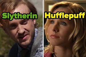 "Julian Dorn is labeled ""Slytherin"" on the left with Veronica Mars labeled, ""Hufflepuff"" on the right"