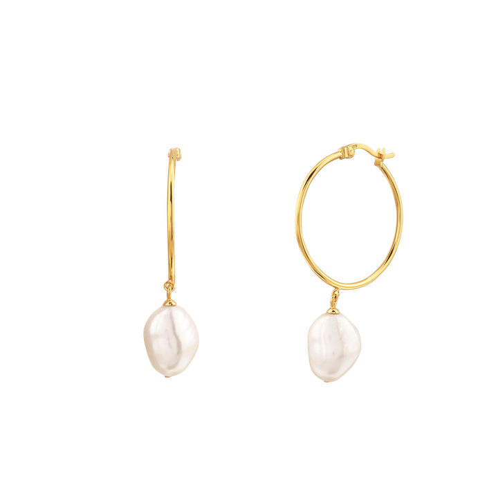 The yellow gold hoop earrings with dangly pearl attachments