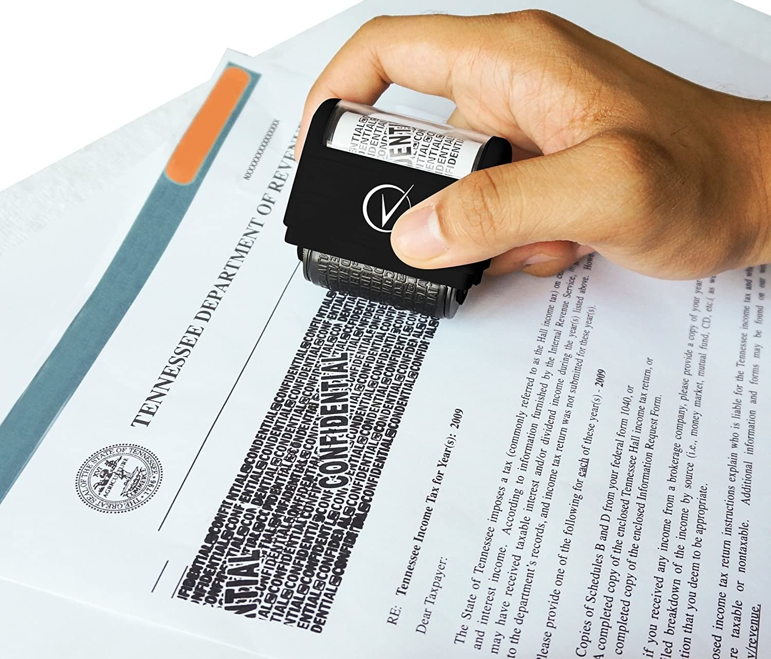 A model using the protection stamp to conceal information on sensitive documents
