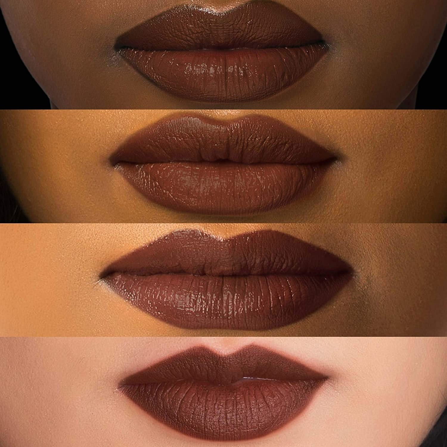 Three models with different skin tones wearing a dark brown nude shade