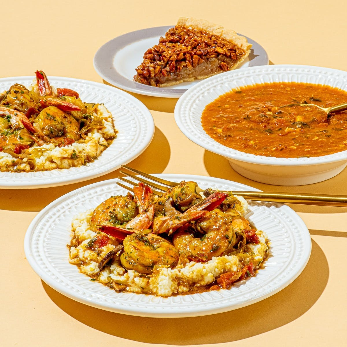 the plates of turtle soup, shrimp and grifts, seafood gumbo, and a pecan pie