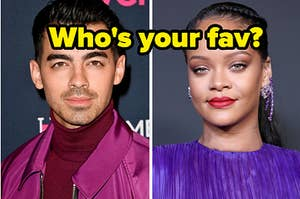 """Joe Jonas is on the left with Rihanna on the right and a label in the center that reads: """"Who's your fav?"""""""