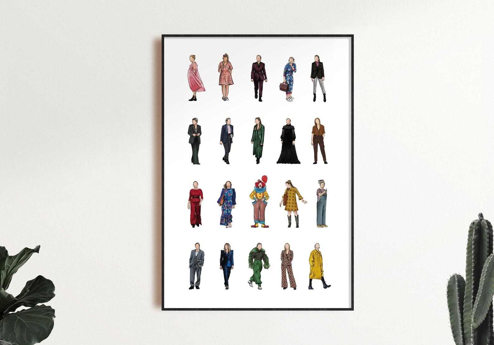 The 20 outfits on a print