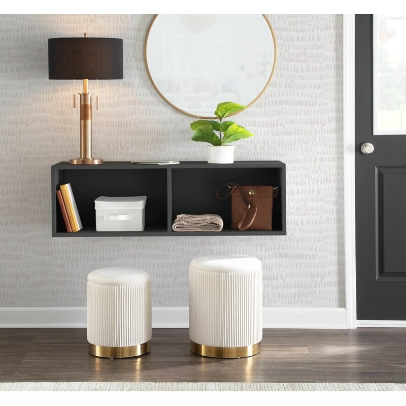 The cream nightstand set