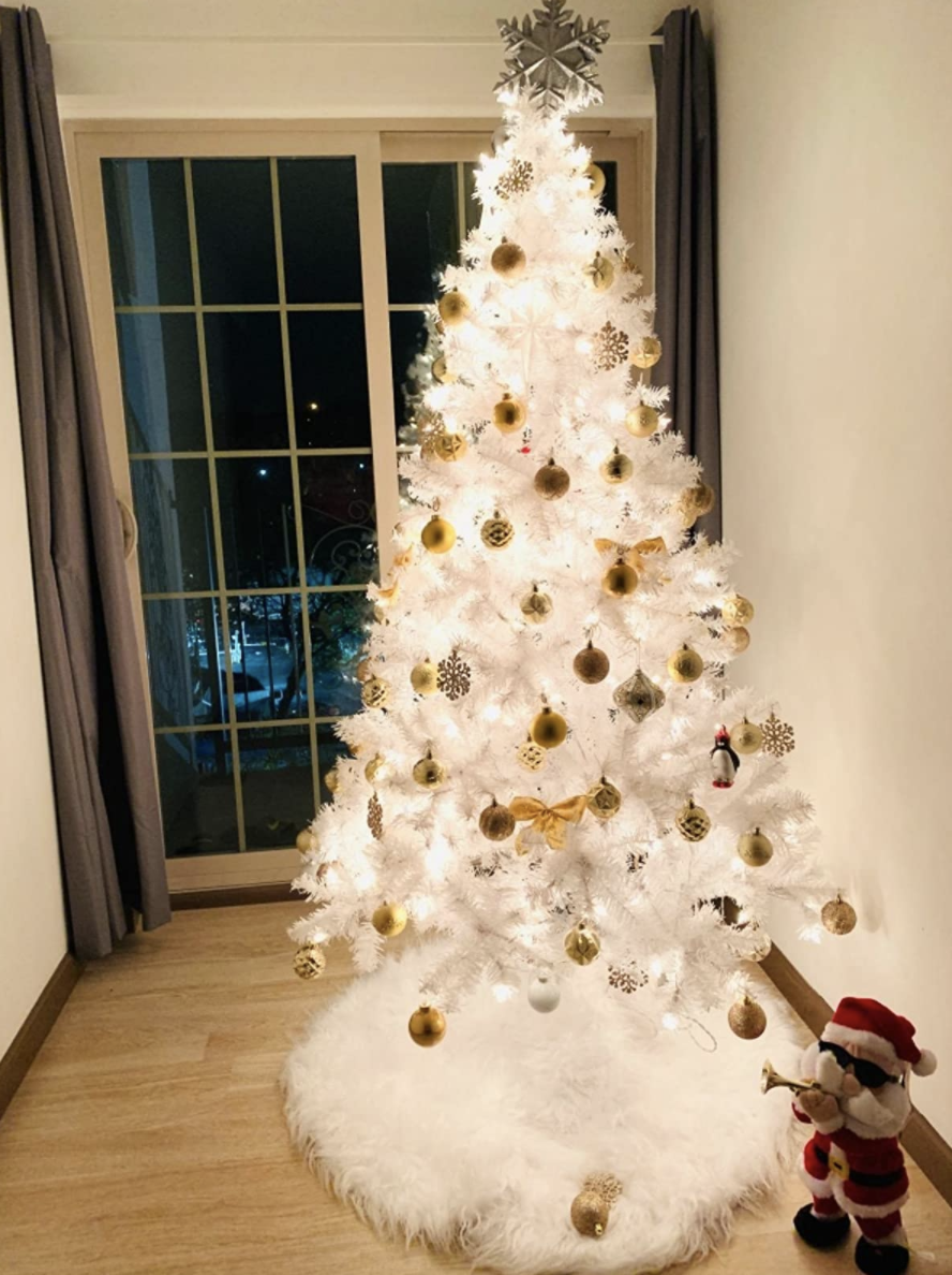 Christmas tree with fluffy tree skirt