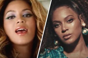 Beyonce is singing on the left with a serious face on the right