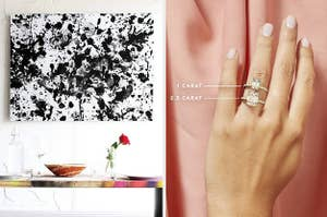 L: abstract white and black art kit R: Model wearing emerald cut engagement ring