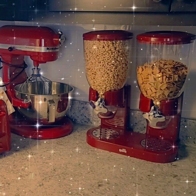 The red double cereal dispenser
