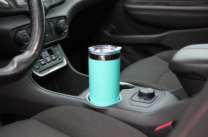 The aqua travel tumbler