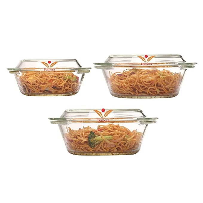 Glass dishes with lids.