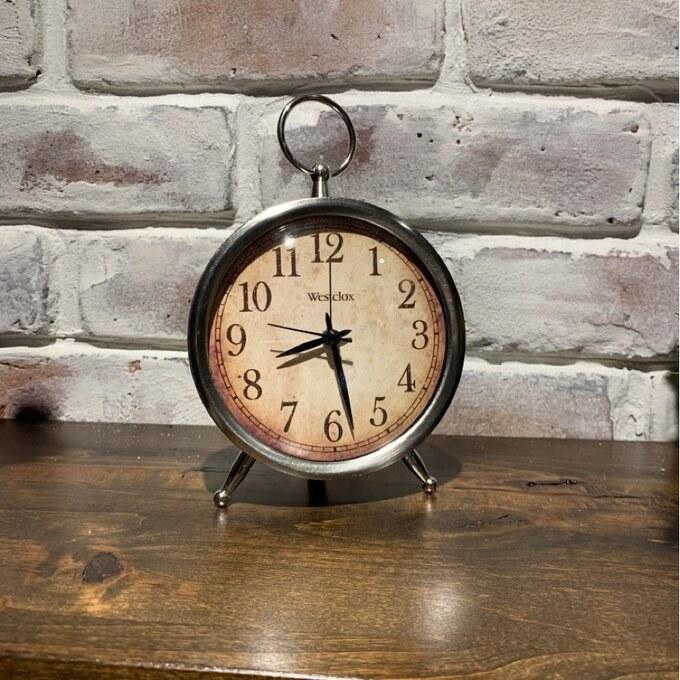 The metal table clock