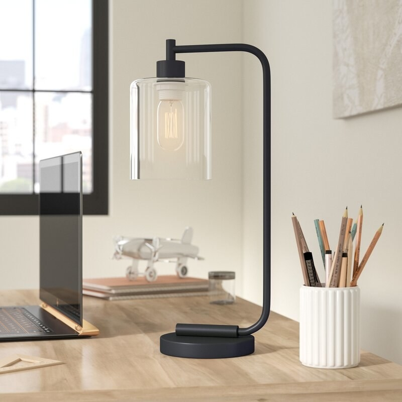 industrial design black matte table lamp with clear shade