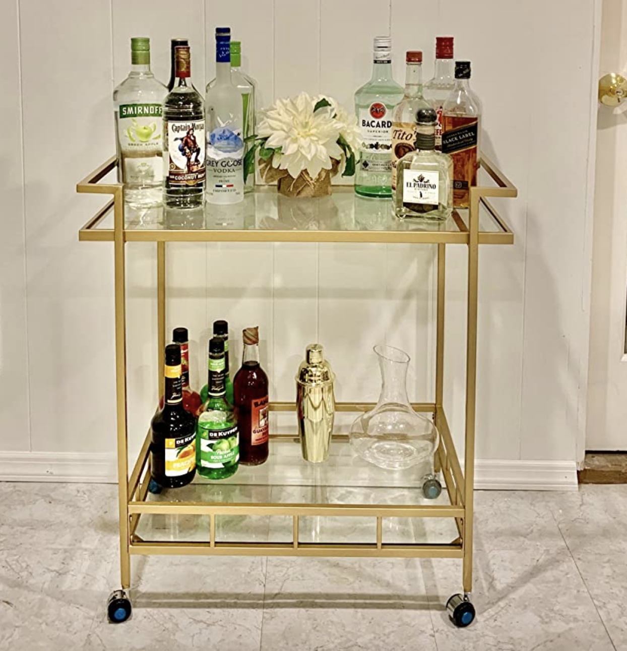 reviewer photo of the gold bar cart