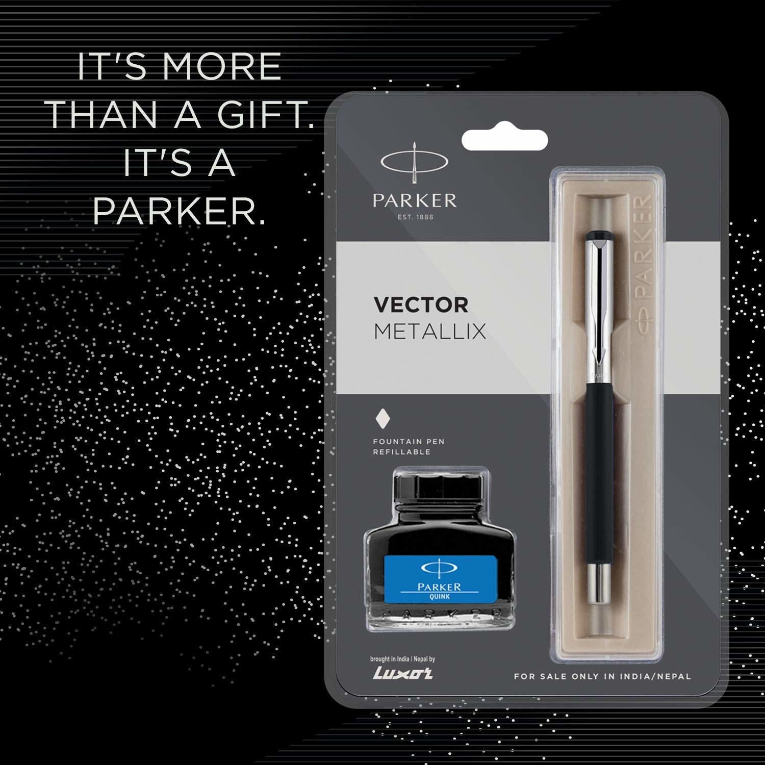 """Pen and ink inside the packaging, with text beside them reading, """"It's more than a gift. It's a Parker."""""""