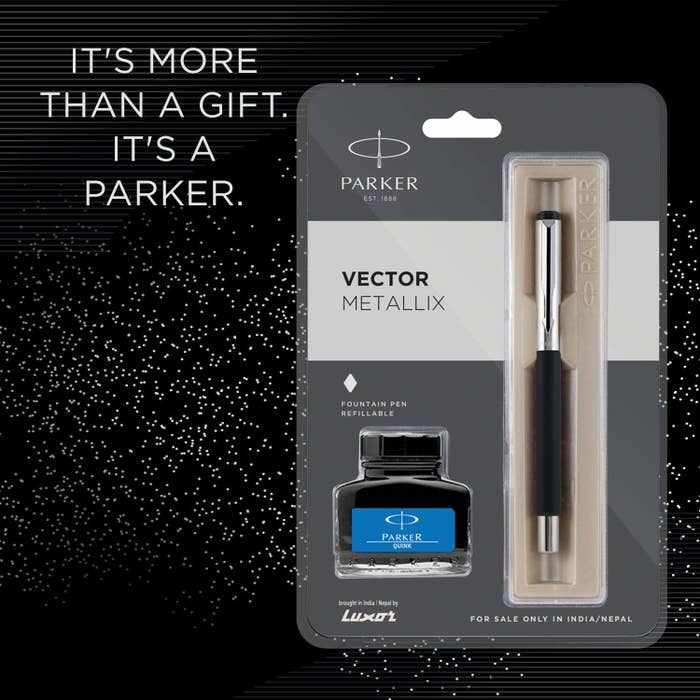 "Pen and ink inside the packaging, with text beside them reading, ""It's more than a gift. It's a Parker."""