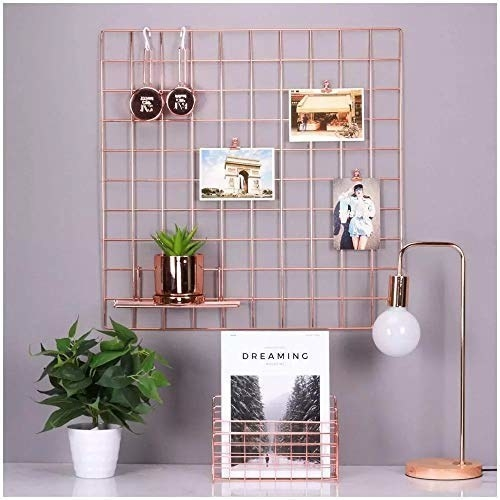 The wall grid with photos and a plant. There's a rose gold magazine holder, a standing lamp, and another plant placed near it.