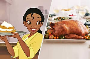 Tiana holding some desserts on a plate next to a thanksgiving turkey