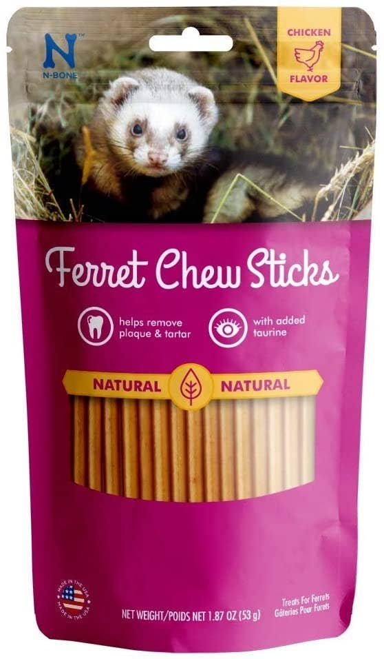 The ferret chew treats in their packaging