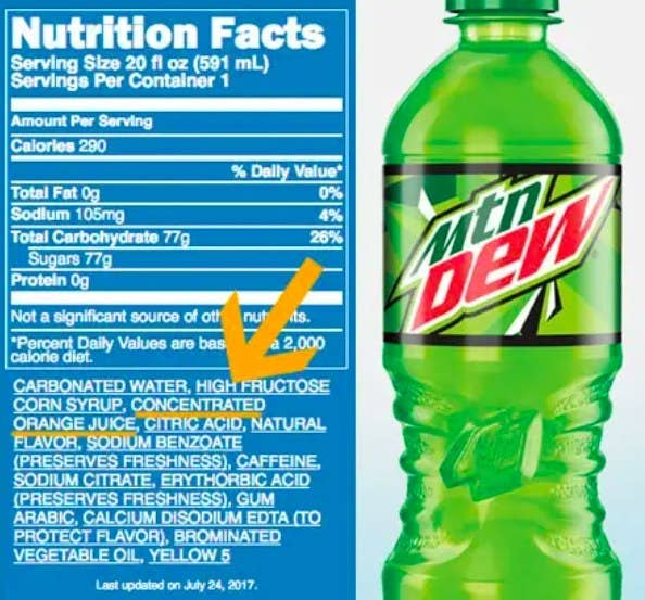 """Mountain Dew nutrition facts with orange yellow pointing to """"Concentrated orange juice,"""" which is third in its list of ingredients"""