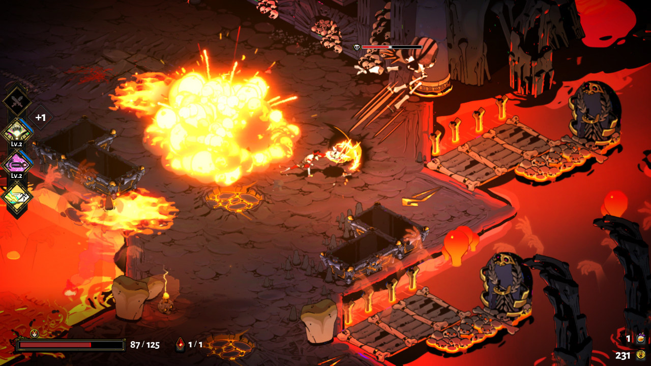 A large explosion lights up the screen in this arcade-style dungeon crawler