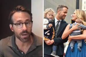 Ryan Reynolds talking to his webcam next to a photo of him and Blake Lively holding their children and smiling