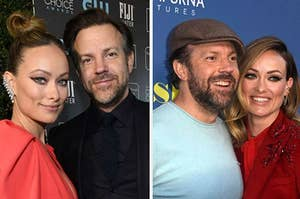 Olivia Wilde and Jason Sudeikis posing on the red carpet together