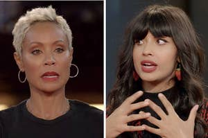 Jada Smith and Jameela Jamil in the midst of the interview