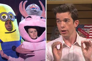 Kenan and Kate in minion and shrimp costumes, and John Mulaney explaining