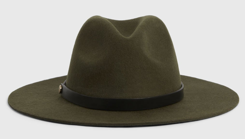 Photo of an army green wool fedora hat