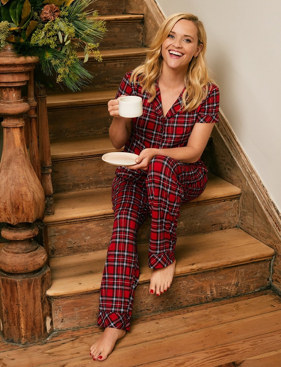 reese witherspoon in red plaid pajamas