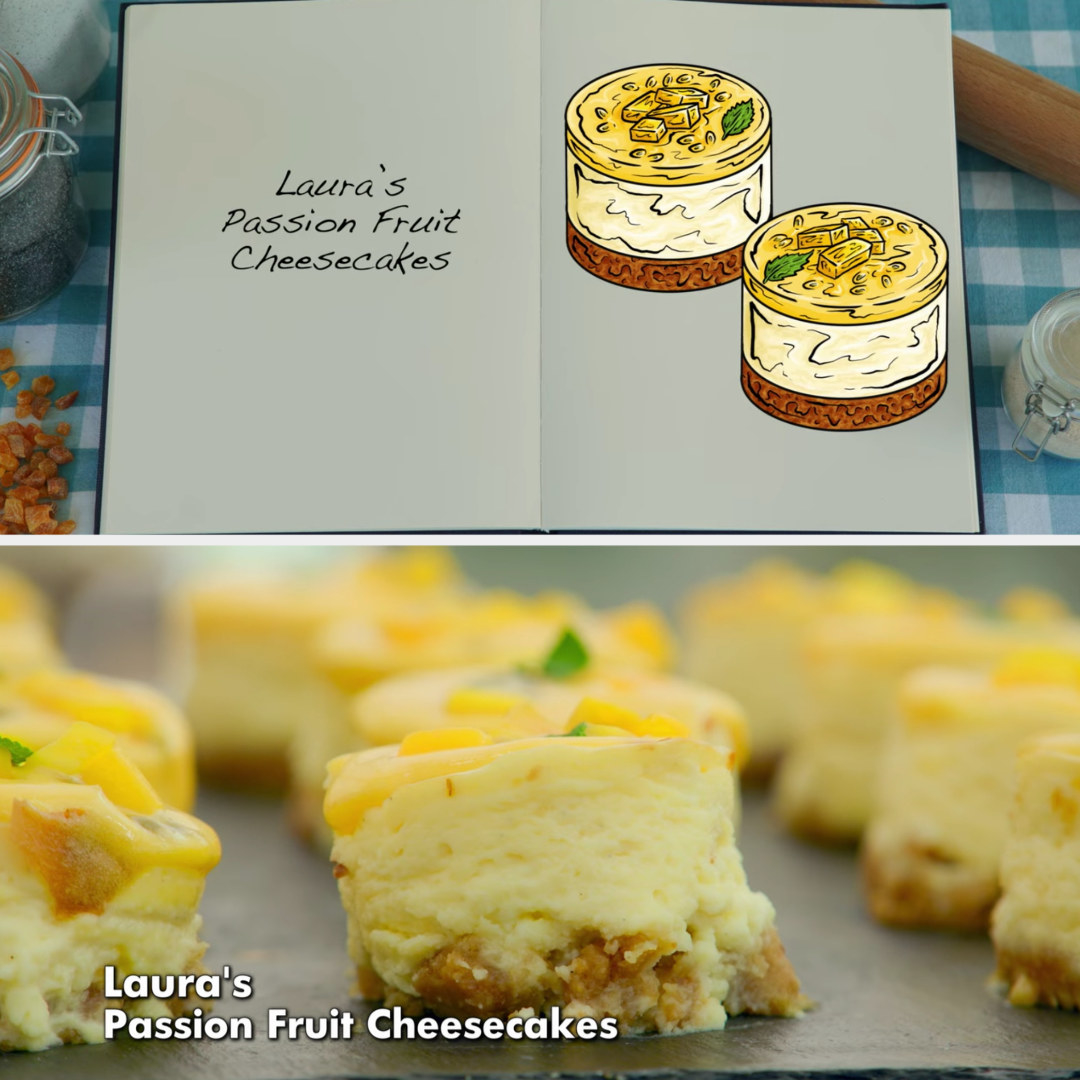 Laura's cheesecakes side-by-side with their drawing