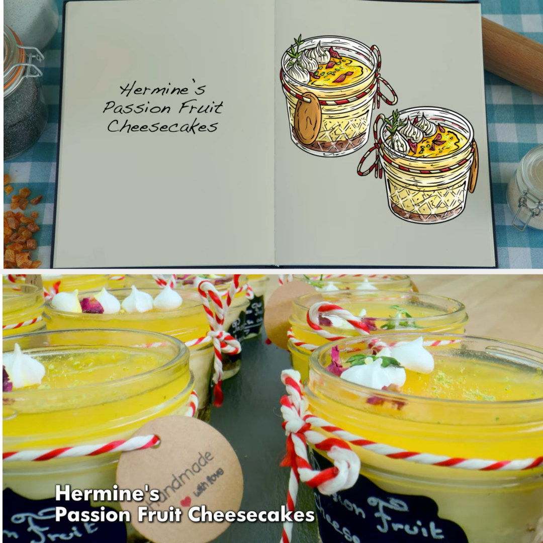 Hermine's cheesecakes in adorable little festive jars side-by-side with their drawing