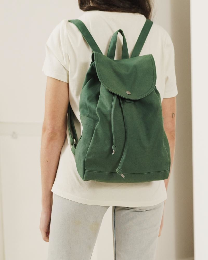 Green drawstring backpack