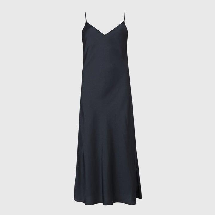 Photo of silk navy blue dress