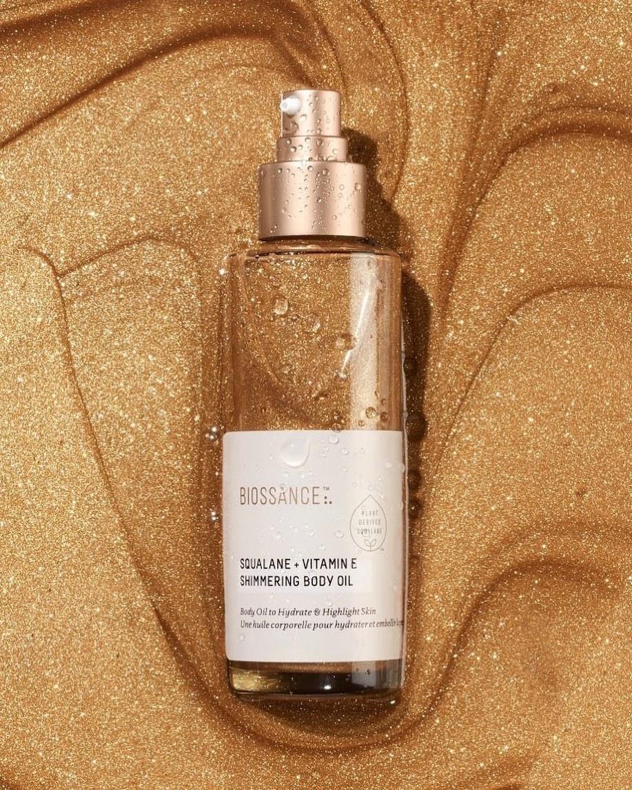 Biossance shimmering body oil