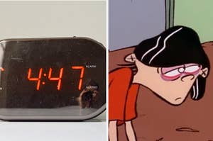 A clock that reads 4:47 next to a cartoon of a kid with red eyes looking tired