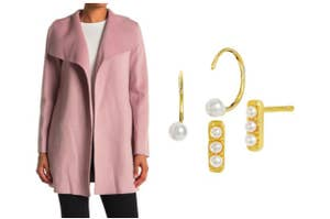 split thumbnail of person wearing a pink wool coat open, two pairs of pearl stud earrings