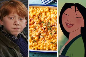 Split Image: Ron Weasley on the left, mac and cheese in the middle, and Mulan on the right