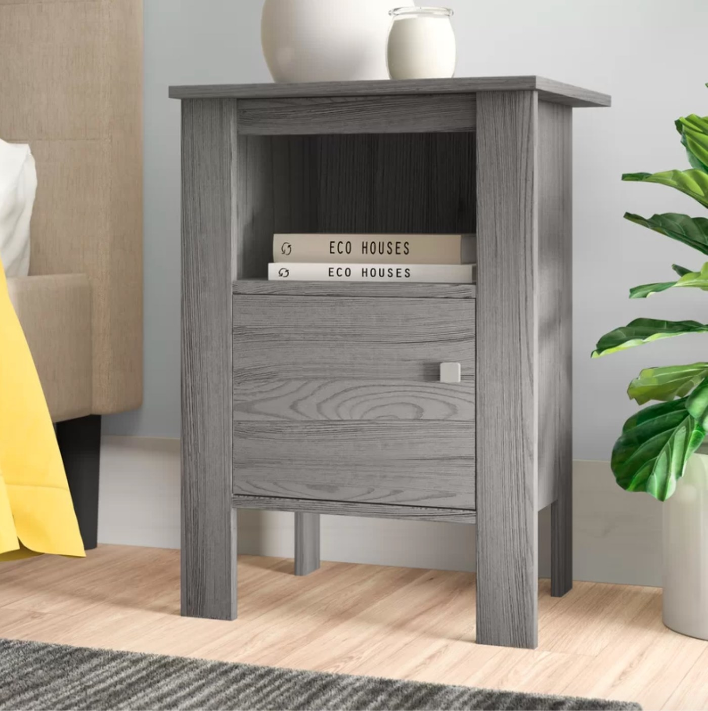 The nightstand in gray