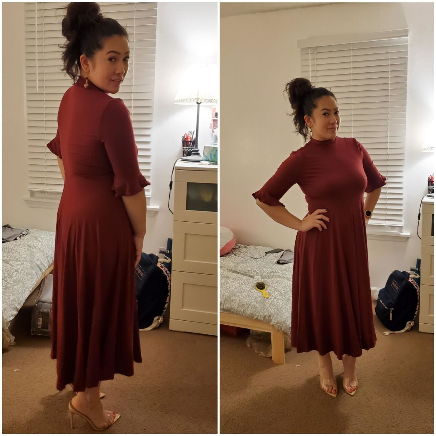 A reviewer wearing the elbow-length sleeve dress in burgundy with heels