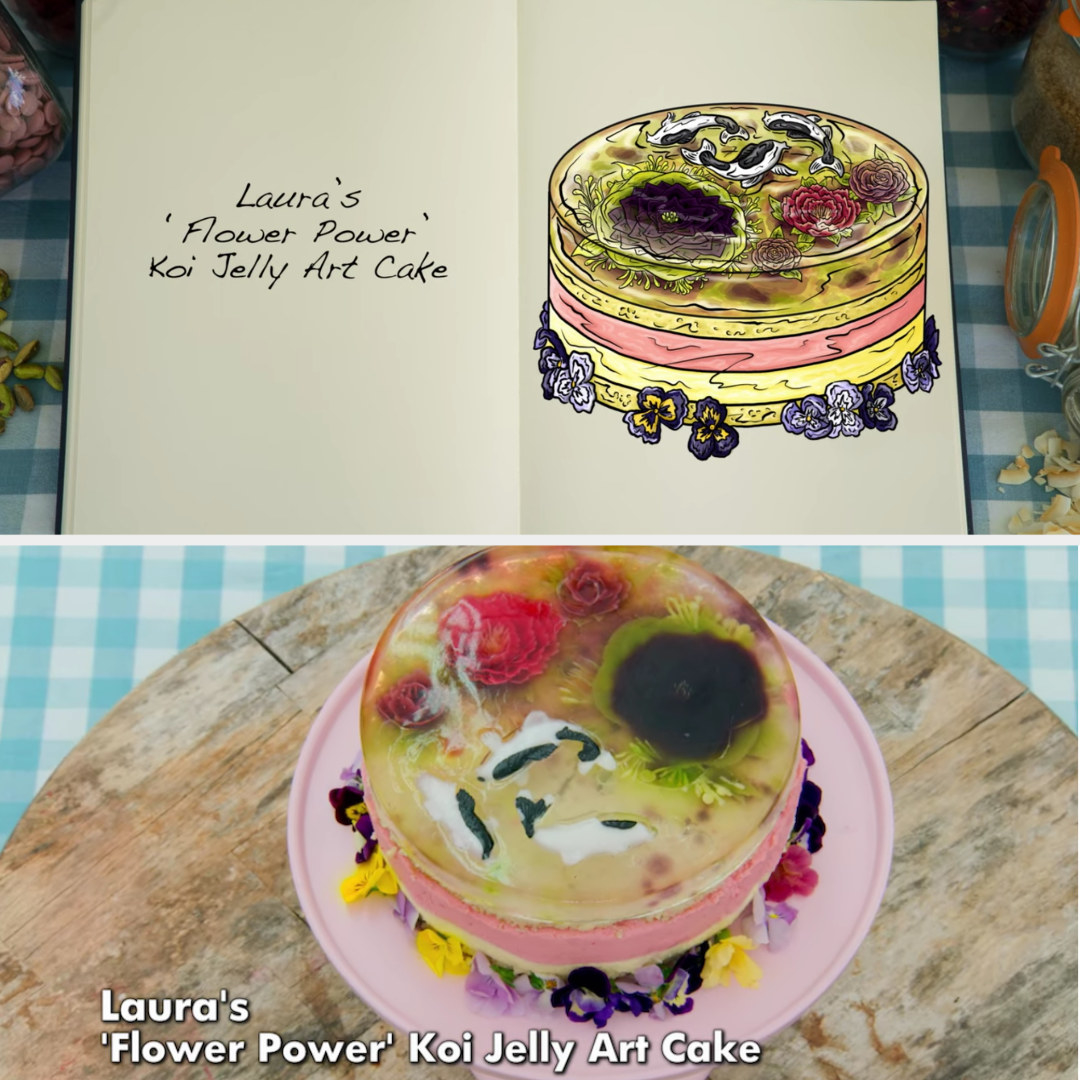 Laura's floral koi pond jelly cake side-by-side with its drawing