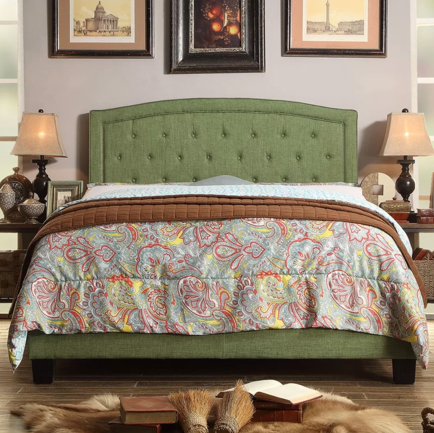 The upholstered low standard bed in holiday green