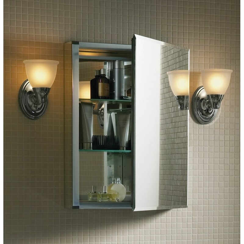 a medicine cabinet that has a mirror on the door, and a mirror inside the cabinet behind the two glass shelves