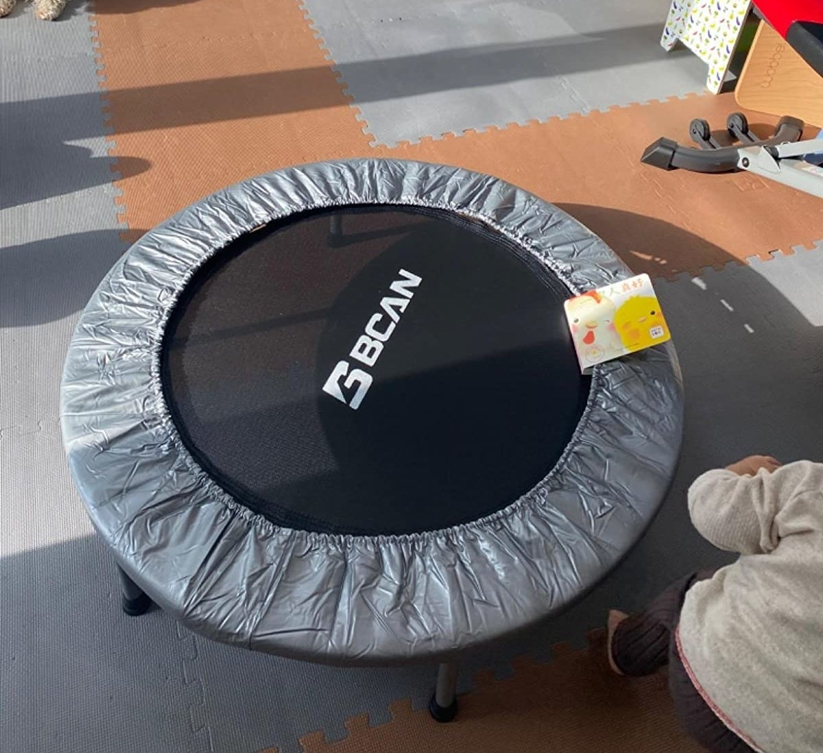 Reviewer pic of the circular trampoline in black with a silver cover around the outside