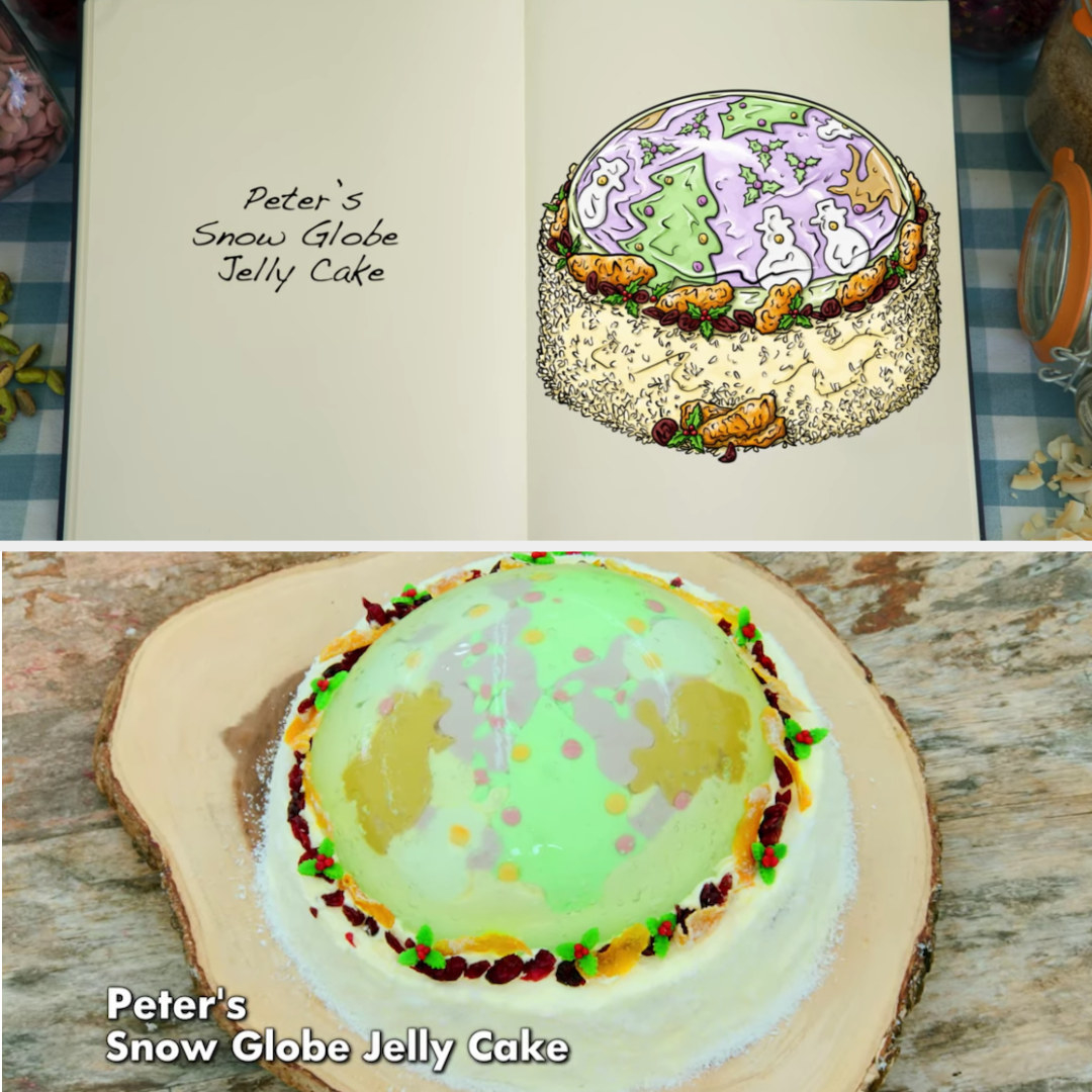 Peter's festive holiday jelly cake side-by-side with its drawing