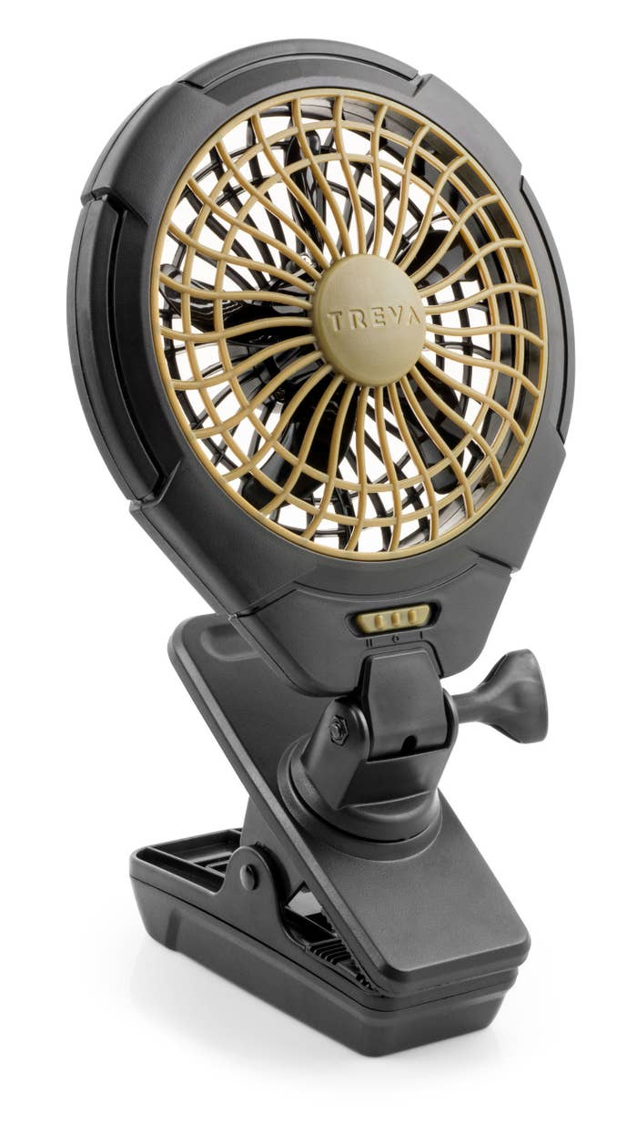 Gray and brown clip-on fan
