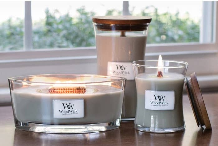 "Woodwick ""fireside"" candle in three sizes"