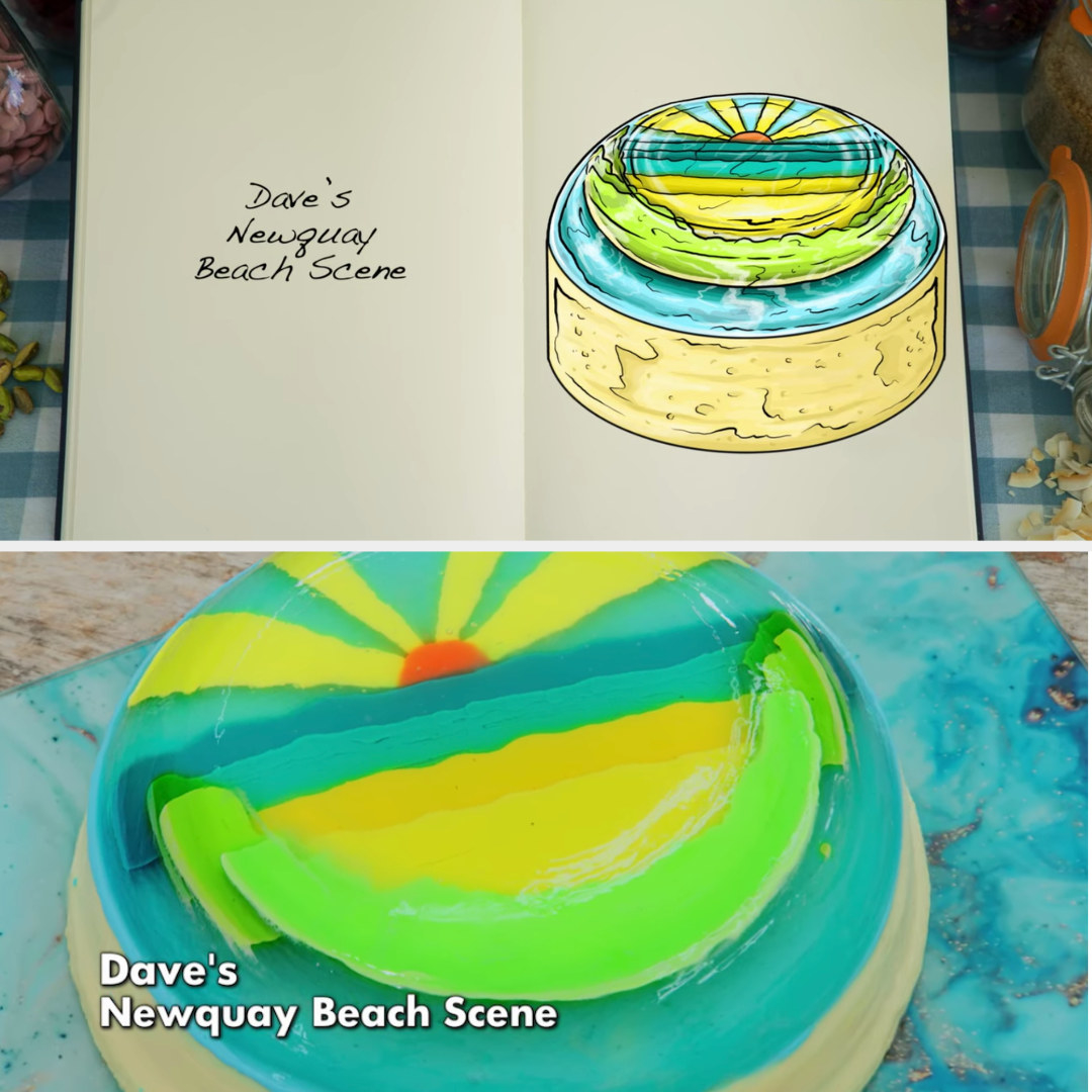 Dave's beachy jelly cake side-by-side with its drawing
