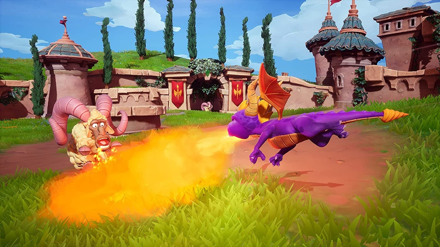 Spyro blowing fire at a ram