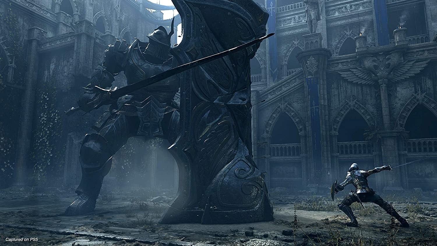 A giant knight faces off against a much smaller knight